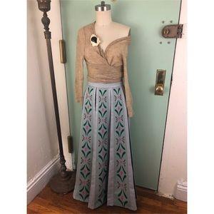 Vintage- Stencil Pleated Maxi Skirt